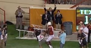 Texas QB Tyrone Swoopes Crashes Into Cameraman (Video)