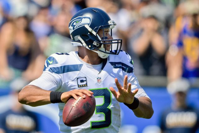 Sep 18, 2016; Los Angeles, CA, USA; Seattle Seahawks quarterback Russell Wilson (3) looks to pass against the Los Angeles Rams during the second half of a NFL game at Los Angeles Memorial Coliseum. Mandatory Credit: Kirby Lee-USA TODAY Sports