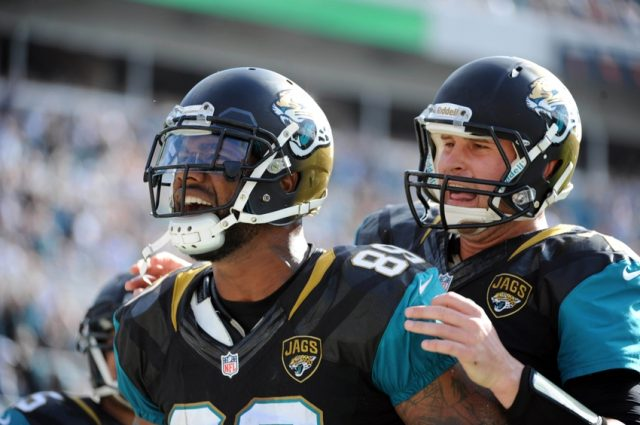 Dec 22, 2013; Jacksonville, FL, USA; Jacksonville Jaguars tight end Marcedes Lewis (89) celebrates a touchdown with quarterback Chad Henne (7) during the game against the Tennessee Titans at EverBank Field. Mandatory Credit: Melina Vastola-USA TODAY Sports