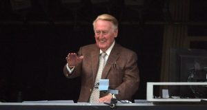 Vin Scully Returns To Dodger Stadium Prior To NLCS Game 5 (Video)