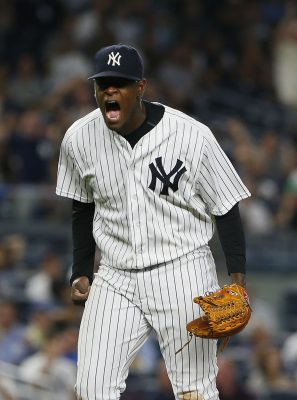 Sep 7, 2016; Bronx, NY, USA; New York Yankees starting pitcher Luis Severino (40) reacts after striking out Toronto Blue Jays right fielder Jose Bautista (not pictured) in the sixth inning at Yankee Stadium. Mandatory Credit: Noah K. Murray-USA TODAY Sports