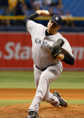 Sep 20, 2016; St. Petersburg, FL, USA; New York Yankees relief pitcher Dellin Betances (68) throws a pitch against the Tampa Bay Rays at Tropicana Field. New York Yankees defeated the Tampa Bay Rays 5-3. Mandatory Credit: Kim Klement-USA TODAY Sports