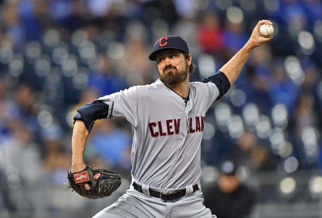 Sep 30, 2016; Kansas City, MO, USA; Cleveland Indians pitcher Andrew Miller (24) delivers a pitch against the Kansas City Royals during the eighth inning at Kauffman Stadium. Mandatory Credit: Peter G. Aiken-USA TODAY Sports
