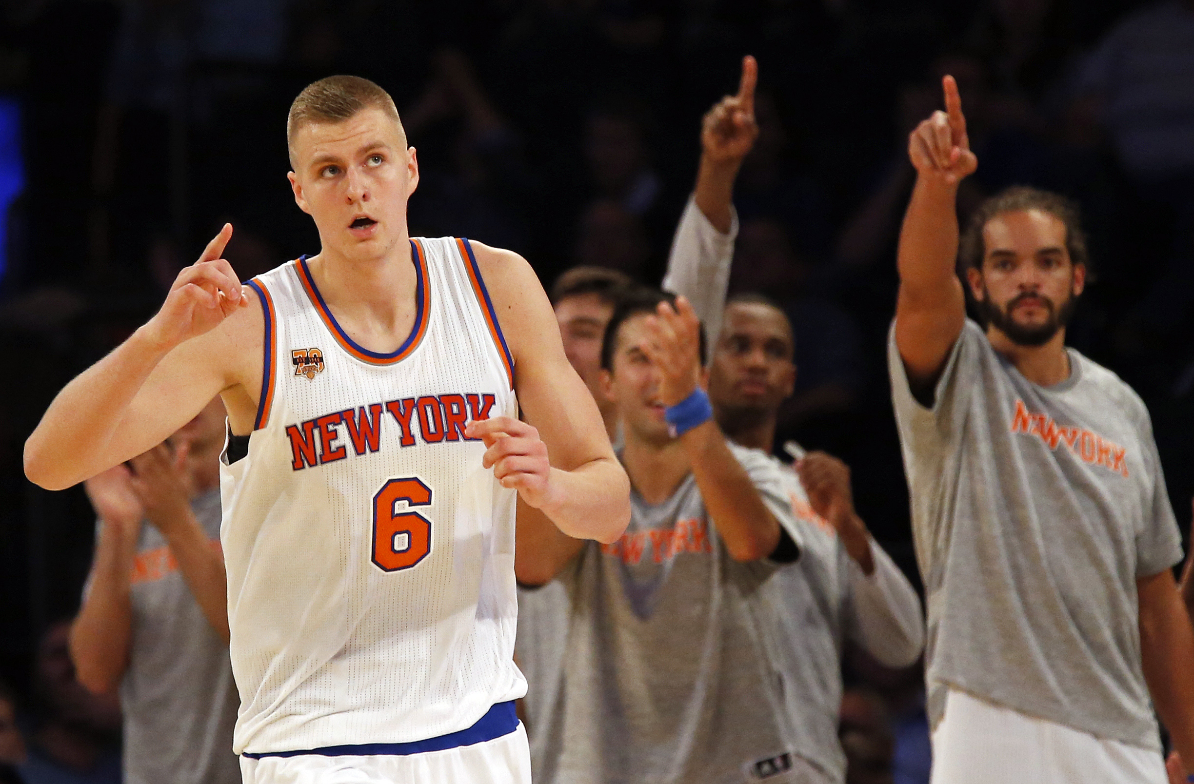 Oct 8, 2016; New York, NY, USA; New York Knicks forward Kristaps Porzingis (6) reacts after scoring a basket against the Brooklyn Nets during the second half at Madison Square Garden. Mandatory Credit: Adam Hunger-USA TODAY Sports