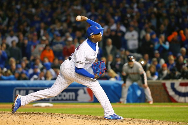 Oct 8, 2016; Chicago, IL, USA; Chicago Cubs relief pitcher Aroldis Chapman (54) pitches against the San Francisco Giants during the ninth inning during game two of the 2016 NLDS playoff baseball series at Wrigley Field. Mandatory Credit: Jerry Lai-USA TODAY Sports