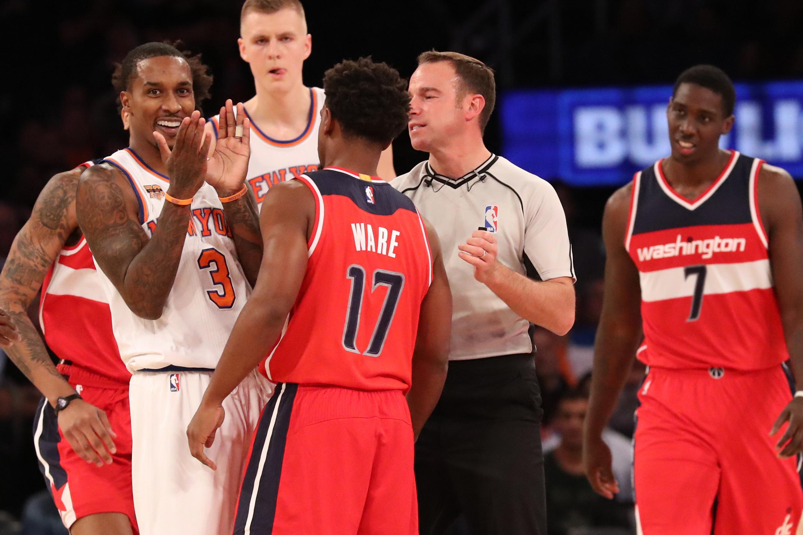 Oct 10, 2016; New York, NY, USA; New York Knicks guard Brandon Jennings (3) and Washington Wizards guard <a rel=