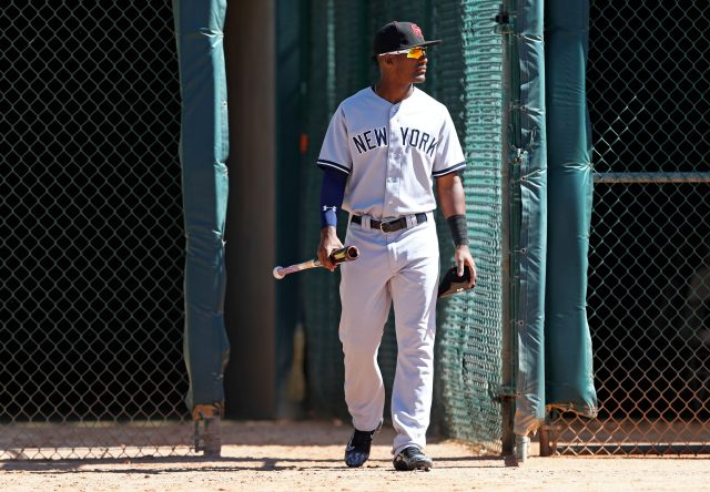 Oct 11, 2016; Glendale, AZ, USA; Scottsdale Scorpions infielder Miguel Andujar of the New York Yankees against the Glendale Desert Dogs during an Arizona Fall League game at Camelback Ranch. Mandatory Credit: Mark J. Rebilas-USA TODAY Sports