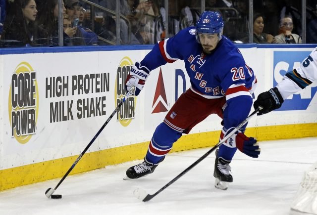 Oct 17, 2016; New York, NY, USA; New York Rangers left wing Chris Kreider (20) controls the puck during the second period against the San Jose Sharks at Madison Square Garden. Mandatory Credit: Adam Hunger-USA TODAY Sports