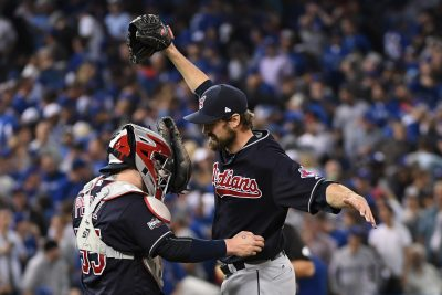 Oct 17, 2016; Toronto, Ontario, CAN; Cleveland Indians relief pitcher Andrew Miller (right) celebrates with catcher Roberto Perez (left) after game three of the 2016 ALCS playoff baseball series against the Toronto Blue Jays at Rogers Centre. Mandatory Credit: Nick Turchiaro-USA TODAY Sports