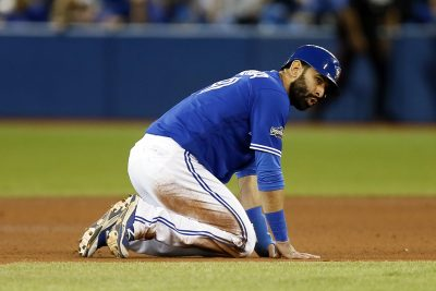 Oct 19, 2016; Toronto, Ontario, CAN; Toronto Blue Jays right fielder Jose Bautista (19) reacts being forced out during the sixth inning against the Cleveland Indians in game five of the 2016 ALCS playoff baseball series at Rogers Centre. Mandatory Credit: John E. Sokolowski-USA TODAY Sports