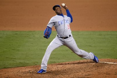Oct 20, 2016; Los Angeles, CA, USA; Chicago Cubs relief pitcher Aroldis Chapman (54) delivers a pitch in the ninth inning against the Los Angeles Dodgers in game five of the 2016 NLCS playoff baseball series against the Los Angeles Dodgers at Dodger Stadium. Mandatory Credit: Gary A. Vasquez-USA TODAY Sports