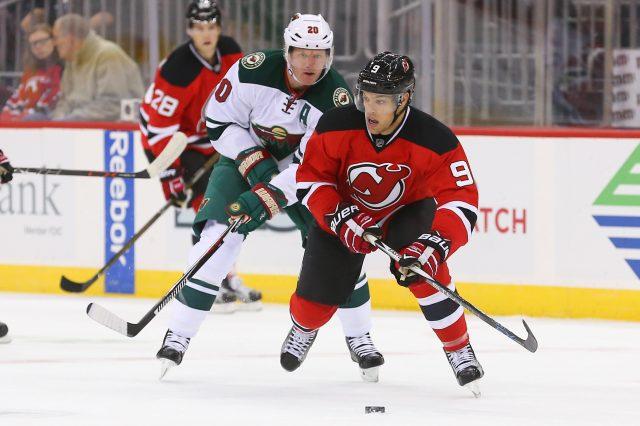 Oct 22, 2016; Newark, NJ, USA; New Jersey Devils left wing <a rel=