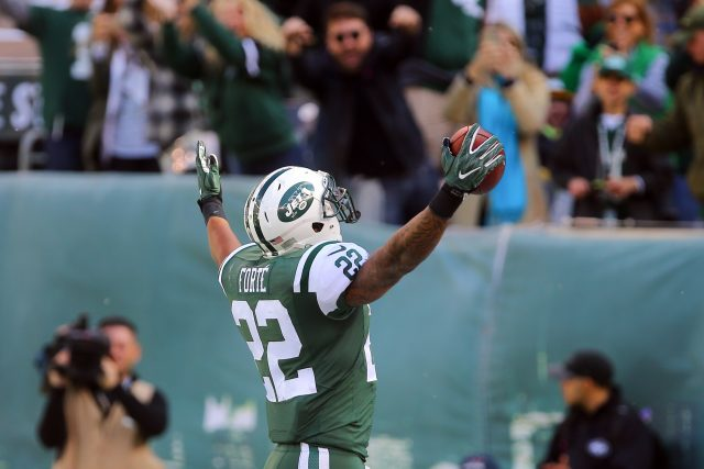 Oct 23, 2016; East Rutherford, NJ, USA; New York Jets running back Matt Forte (22) celebrates his touchdown catch during the first half of their game against the Baltimore Ravens at MetLife Stadium. Mandatory Credit: Ed Mulholland-USA TODAY Sports