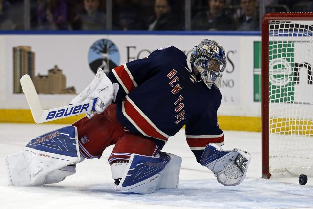 Oct 26, 2016; New York, NY, USA; New York Rangers goalie Henrik Lundqvist (30) gives up a goal to Boston Bruins center Austin Czarnik (27) during the first period at Madison Square Garden. Mandatory Credit: Adam Hunger-USA TODAY Sports