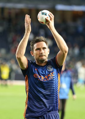 Oct 23, 2016; New York, NY, USA; New York City FC midfielder Frank Lampard (8) gestures to fans after the MLS game against the Columbus Crew at Yankee Stadium. New York City FC won 4-1. Mandatory Credit: Vincent Carchietta-USA TODAY Sports