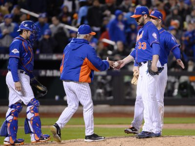 Oct 17, 2015; New York City, NY, USA; New York Mets starting pitcher Matt Harvey (33) is relieved by manager Terry Collins in the 8th inning against the Chicago Cubs in game one of the NLCS at Citi Field. Mandatory Credit: Robert Deutsch-USA TODAY Sports