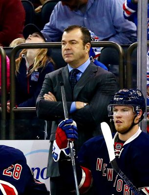 Nov 28, 2015; New York, NY, USA; New York Rangers head coach Alain Vigneault looks on against the Philadelphia Flyers during the first period at Madison Square Garden. Mandatory Credit: Andy Marlin-USA TODAY Sports