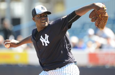 Feb 26, 2016; Tampa, FL, USA; New York Yankees pitcher Michael Pineda (35) pitches live batting practice during the workout at George M. Steinbrenner Field. Mandatory Credit: Jonathan Dyer-USA TODAY Sports