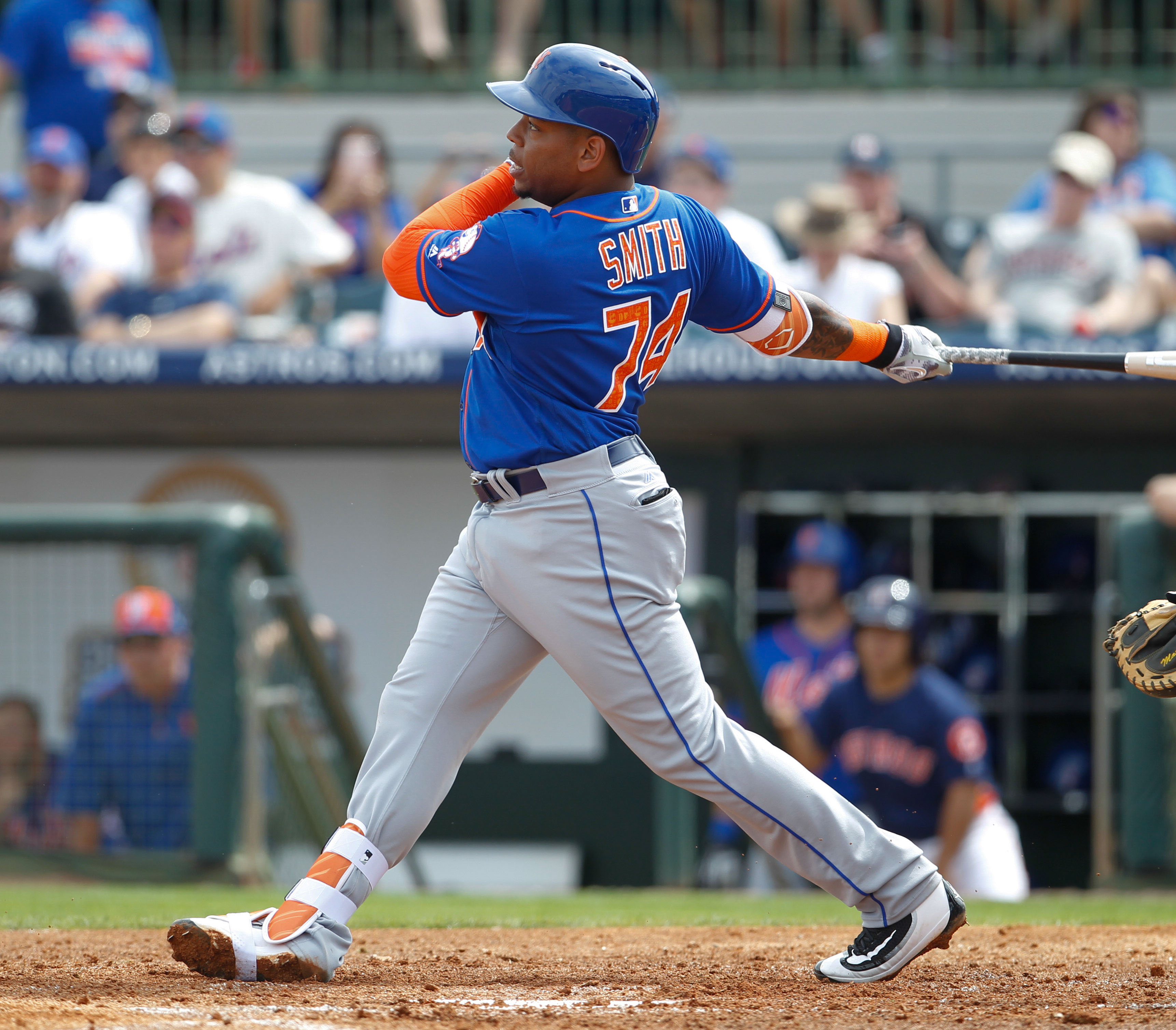 Mar 5, 2016; Kissimmee, FL, USA; New York Mets first baseman Dominic Smith (74) bats during a spring training baseball game against the Houston Astros at Osceola County Stadium. Mandatory Credit: Reinhold Matay-USA TODAY Sports