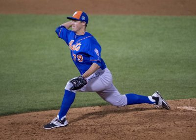Mar 22, 2016; Tampa, FL, USA; New York Mets relief pitcher Paul Sewald (79) pitches against the New York Yankees during the eighth inning at George M. Steinbrenner Field. The Yankees defeat the Mets 6-3. Mandatory Credit: Jerome Miron-USA TODAY Sports