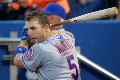 Apr 22, 2016; Atlanta, GA, USA; New York Mets third baseman David Wright (5) in the dugout against the Atlanta Braves in the second inning at Turner Field. Mandatory Credit: Brett Davis-USA TODAY Sports