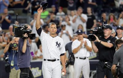 Aug 12, 2016; Bronx, NY, USA; New York Yankees designated hitter Alex Rodriguez (13) tips his cap in a farewell gesture to the fans after the game against the Tampa Bay Rays at Yankee Stadium. New York Yankees won 6-3. Mandatory Credit: Anthony Gruppuso-USA TODAY Sports