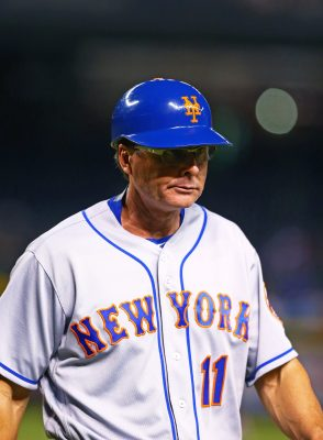 Aug 15, 2016; Phoenix, AZ, USA; New York Mets third base coach Tim Teufel against the Arizona Diamondbacks at Chase Field. Mandatory Credit: Mark J. Rebilas-USA TODAY Sports