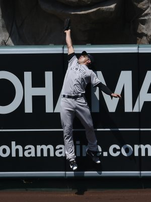 Aug 21, 2016; Anaheim, CA, USA; New York Yankees center fielder Jacoby Ellsbury (22) catches a ball hit by Los Angeles Angels designated hitter Albert Pujols (not pictured) during the fifth inning at Angel Stadium of Anaheim. Mandatory Credit: Kelvin Kuo-USA TODAY Sports