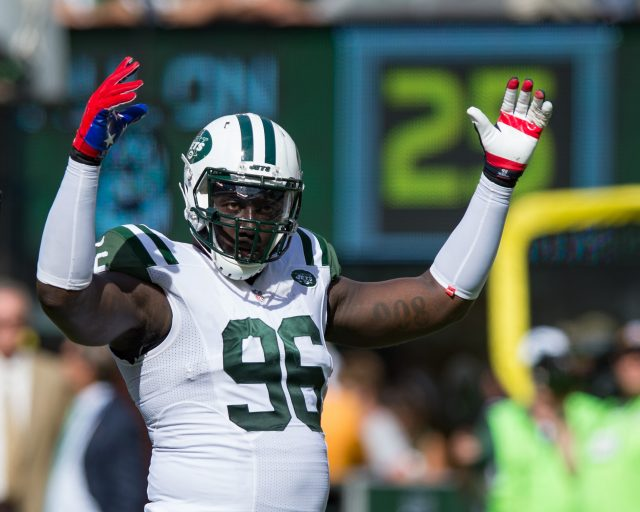 Sep 11, 2016; East Rutherford, NJ, USA; New York Jets defensive end Muhammad Wilkerson (96) reacts in the second half against the Cincinnati Bengals at MetLife Stadium. The Bengals defeated the Jets 23-22. Mandatory Credit: William Hauser-USA TODAY Sports