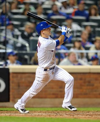 Sep 24, 2016; New York City, NY, USA; New York Mets shortstop Gavin Cecchini (2) hits an RBI double against the Philadelphia Phillies during the sixth inning at Citi Field. The hit was the first of his MLB career. Mandatory Credit: Brad Penner-USA TODAY Sports