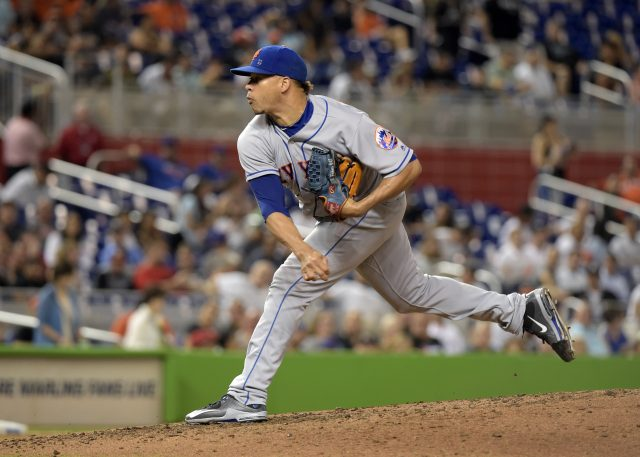 Sep 28, 2016; Miami, FL, USA; New York Mets relief pitcher Hansel Robles (47) throws during the sixth inning against the Miami Marlins at Marlins Park. The Mets won 5-2. Mandatory Credit: Steve Mitchell-USA TODAY Sports