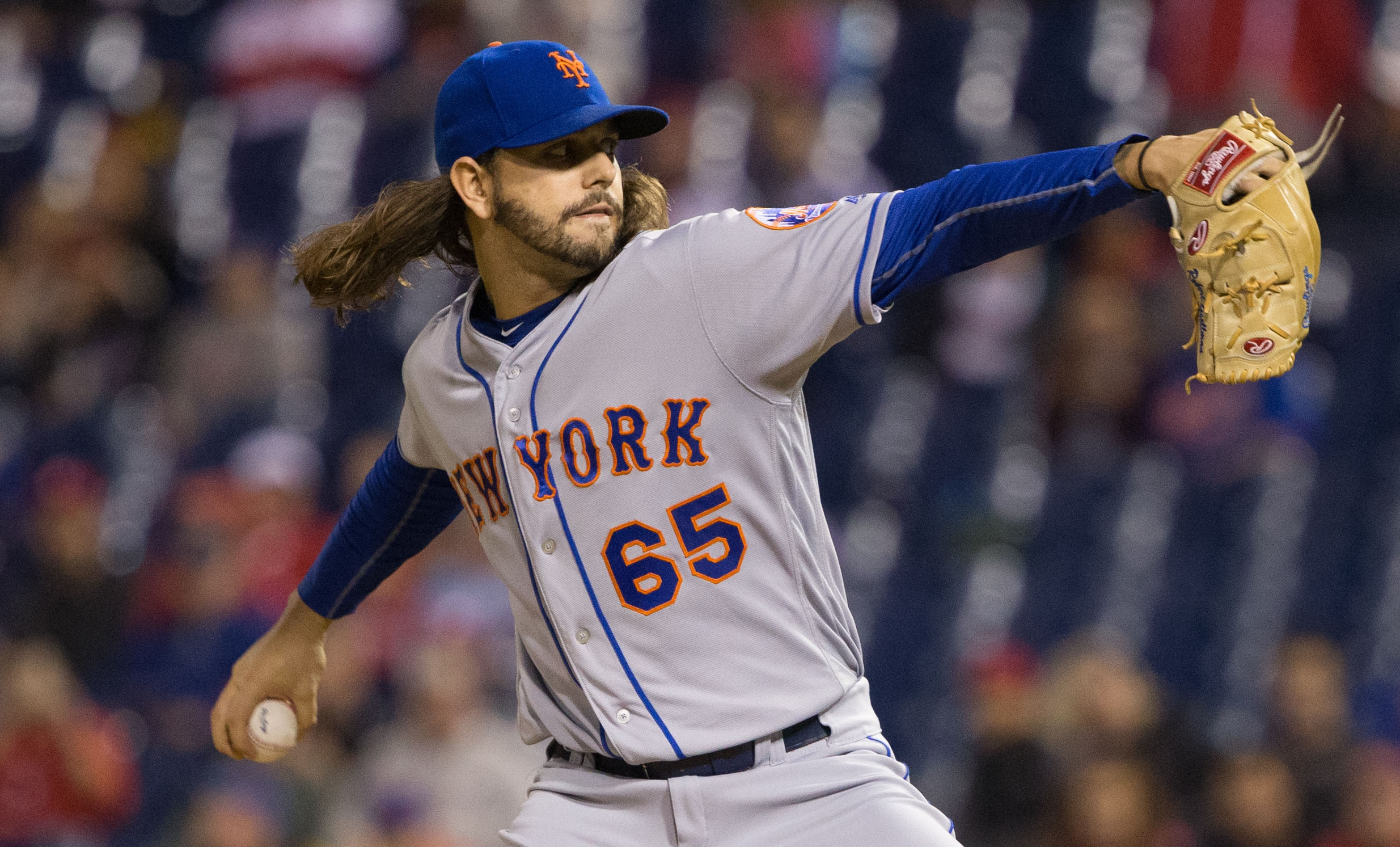 Sep 30, 2016; Philadelphia, PA, USA; New York Mets starting pitcher Robert Gsellman (65) pitches against the Philadelphia Phillies during the first inning at Citizens Bank Park. Mandatory Credit: Bill Streicher-USA TODAY Sports