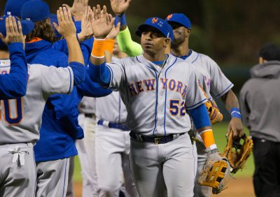 Sep 30, 2016; Philadelphia, PA, USA; New York Mets left fielder Yoenis Cespedes (52) celebrates a victory against the Philadelphia Phillies at Citizens Bank Park. The New York Mets won 5-1. Mandatory Credit: Bill Streicher-USA TODAY Sports