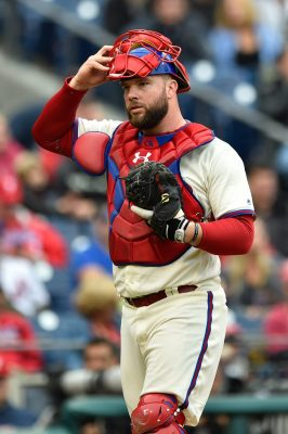 Oct 1, 2016; Philadelphia, PA, USA; Philadelphia Phillies catcher Cameron Rupp (29) in action during a baseball game against the New York Mets at Citizens Bank Park. Mandatory Credit: Derik Hamilton-USA TODAY Sports