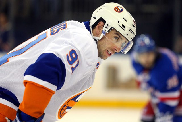 Oct 13, 2016; New York, NY, USA; New York Islanders center John Tavares (91) prepares for a face-off against the New York Rangers during the first period at Madison Square Garden. Mandatory Credit: Brad Penner-USA TODAY Sports