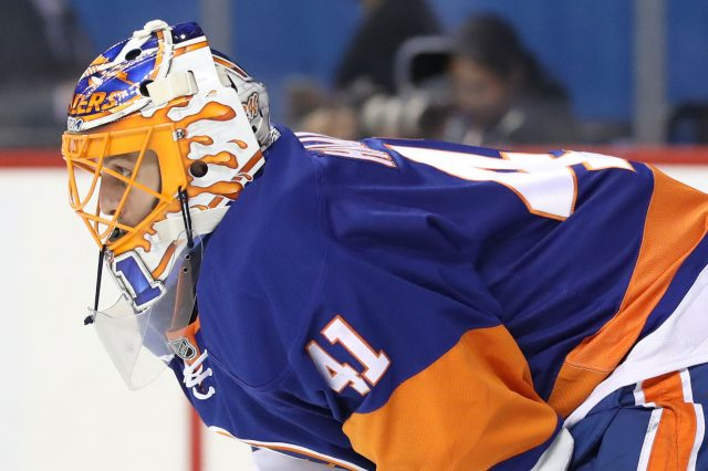 Oct 21, 2016; Brooklyn, NY, USA; New York Islanders goalie <a rel=