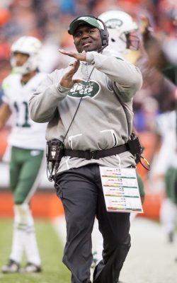 Oct 30, 2016; Cleveland, OH, USA; New York Jets head coach Todd Bowles calls timeout during the second half against the Cleveland Browns at FirstEnergy Stadium. The Jets won 31-28. Mandatory Credit: Scott R. Galvin-USA TODAY Sports
