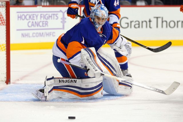 Oct 30, 2016; Brooklyn, NY, USA; New York Islanders goalie Thomas Greiss (1) defends the goal against the Toronto Maple Leafs during the first period at Barclays Center. Mandatory Credit: Brad Penner-USA TODAY Sports