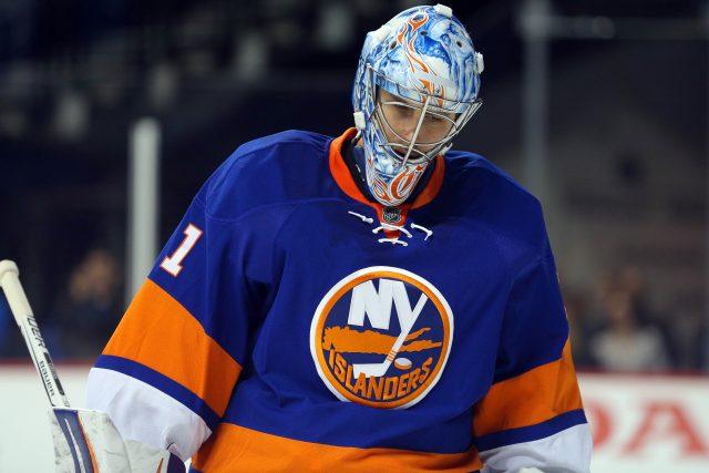 Nov 1, 2016; Brooklyn, NY, USA; New York Islanders goalie <a rel=