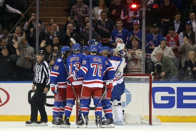 Nov 3, 2016; New York, NY, USA; New York Rangers right wing Kevin Hayes (13) celebrates his goal against the Edmonton Oilers with teammates during the first period at Madison Square Garden. Mandatory Credit: Brad Penner-USA TODAY Sports