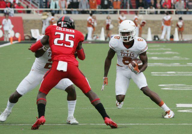 Nov 5, 2016; Lubbock, TX, USA; University of Texas Longhorns wide receiver <a rel=