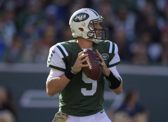 Nov 13, 2016; East Rutherford, NJ, USA; New York Jets quarterback <a rel=