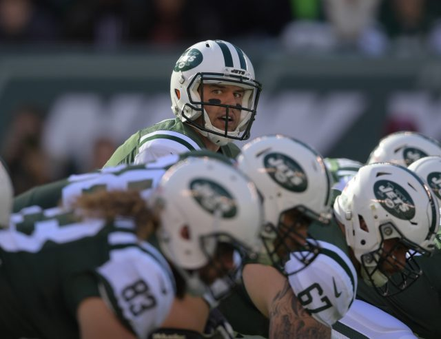 Nov 13, 2016; East Rutherford, NJ, USA; New York Jets quarterback Bryce Petty (9) prepares to take the snap against the Los Angeles Rams during a NFL football game at MetLife Stadium. Mandatory Credit: Kirby Lee-USA TODAY Sports