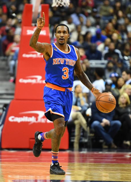 Nov 17, 2016; Washington, DC, USA; New York Knicks guard Brandon Jennings (3) dribbles the ball against the Washington Wizards during the first half at Verizon Center. Mandatory Credit: Brad Mills-USA TODAY Sports