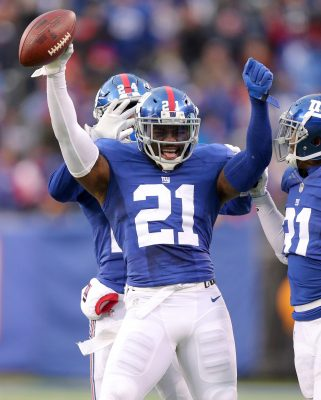 Nov 20, 2016; East Rutherford, NJ, USA; New York Giants safety Landon Collins (21) reacts after making a game-ending interception against the Chicago Bears during the fourth quarter at MetLife Stadium. Mandatory Credit: Brad Penner-USA TODAY Sports