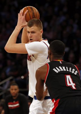 Nov 22, 2016; New York, NY, USA; New York Knicks forward Kristaps Porzingis (6) looks to drive to the basket defended by Portland Trail Blazers forward Maurice Harkless (4) during the second half at Madison Square Garden. Mandatory Credit: Adam Hunger-USA TODAY Sports