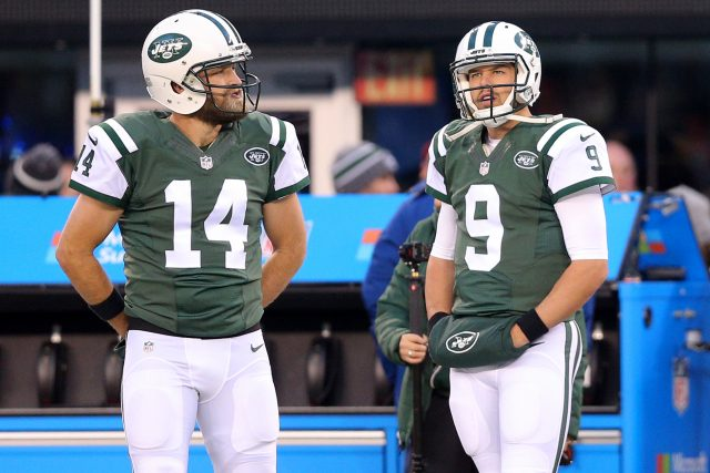 Nov 27, 2016; East Rutherford, NJ, USA; New York Jets quarterback Ryan Fitzpatrick (14) and quarterback Bryce Petty (9) during warm up prior to their game against the New England Patriots at MetLife Stadium. Mandatory Credit: Brad Penner-USA TODAY Sports