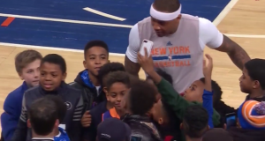New York Knicks' Carmelo Anthony, Walt 'Clyde' Frazier get mobbed by kids (Video)