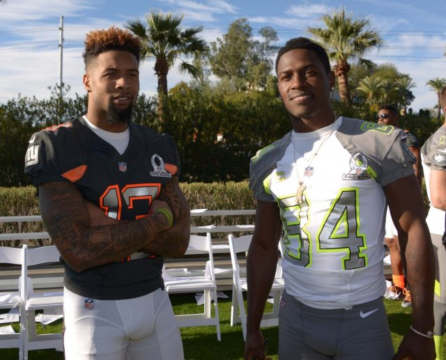 Jan 23, 2015; Phoenix, AZ, USA; New York Giants receiver Odell Beckham (13) and Pittsburgh Steelers receiver Antonio Brown (84) pose during team photos for the 2015 Pro Bowl at The Arizona Biltmore. Mandatory Credit: Kirby Lee-USA TODAY Sports