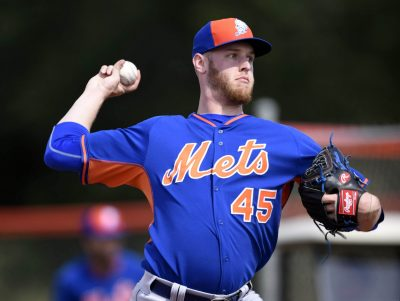 Feb 23, 2015; Port St. Lucie, FL, USA; New York Mets starting pitcher Zack Wheeler (45) throws a bullpen session during spring training at Tradition Field. Mandatory Credit: Brad Barr-USA TODAY Sports
